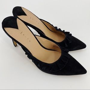 Leith black Perry mule with ruffle detail NWOT